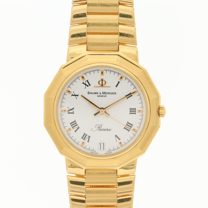 Baume & Mercier Riviera 18K Gold Quartz Wristwatch