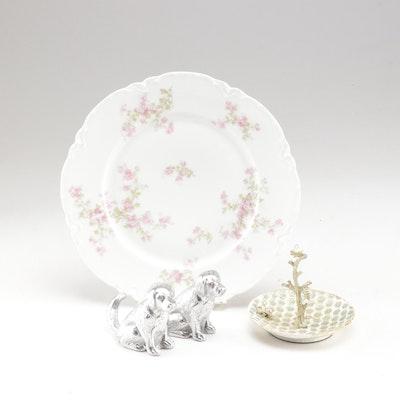 Cynthia Rowley Ring Dish, Haviland Plate & Dog Shakers