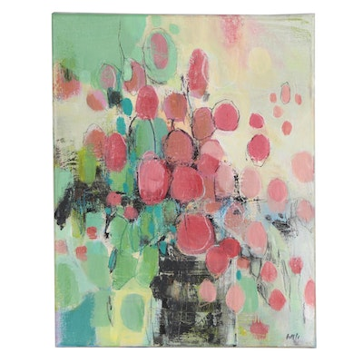 """""""Abstract Like Flowers"""" Mixed Media Painting, 21st Century"""