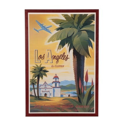 "Offset Lithograph after Kerne Erickson Travel Poster ""Los Angeles by Clipper"""