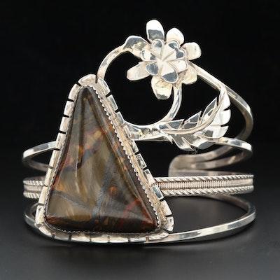 Signed Bill Kirkham Southwestern Style Sterling Silver Tiger Iron Cuff Bracelet