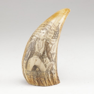 Replica Resin Whale Tooth Scrimshaw of Commodore Perry