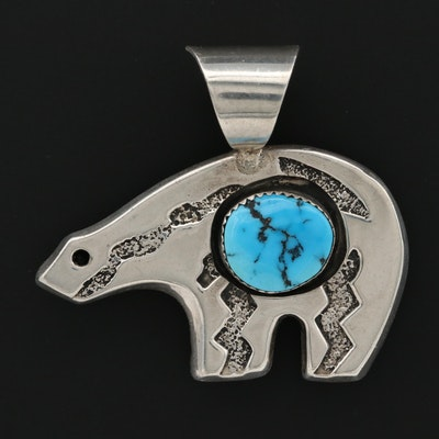 Irv Monte Navajo Diné Sterling Silver Turquoise Bear Pendant