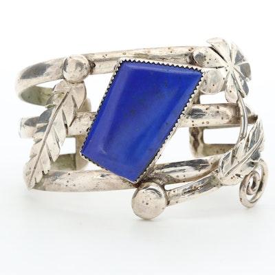 Signed Bill Kirkham Southwestern Style Sterling Silver Lapis Lazuli Cuff