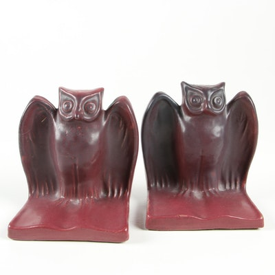 """Van Briggle Pottery Mulberry Glaze """"Owl"""" Bookends, Early 20th Century"""