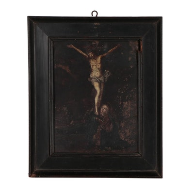 Spanish Religious Painting of Crucifixion with Virgin Mary, Early 19th Century