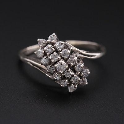 10K White Gold Diamond Waterfall Ring