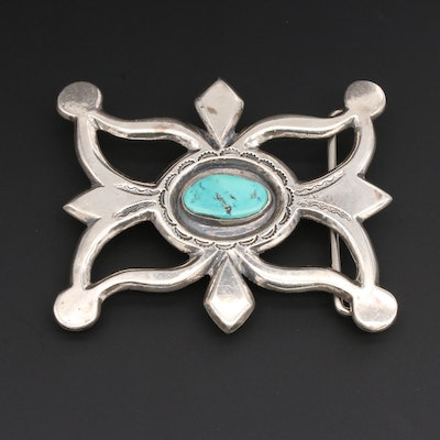 Southwestern Style Sterling Silver Turquoise Sandcast Belt Buckle