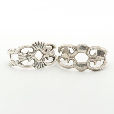 Southwestern Style Sandcast Sterling and 800 Silver Cuff Bracelets