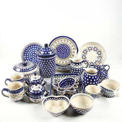 "Boleslawiec Polish Stoneware Serveware Including ""Americana"""