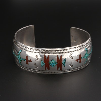 Signed Southwestern Style Signed Turquoise and Coral Cuff Bracelet