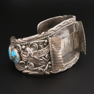 Yellowhorse Navajo Diné Sterling Silver Turquoise and Coral Watch Cuff Bracelet