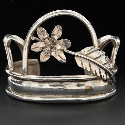 Signed Bill Kirkham Southwestern Style Sterling Silver Floral Cuff Bracelet