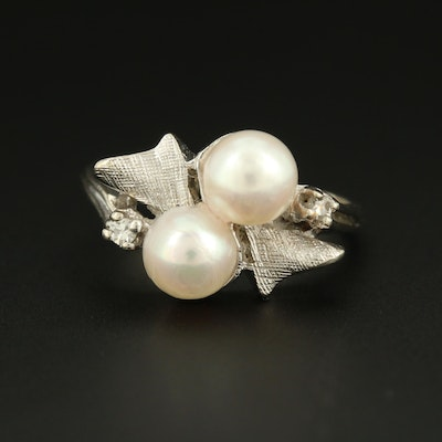 1950s 14K White Gold Cultured Pearl and Diamond Ring