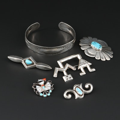 Southwestern Style Sterling Silver Gemstone Brooches and Cuff Bracelet