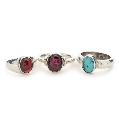 Sterling Silver Rhodolite Garnet and Turquoise Rings