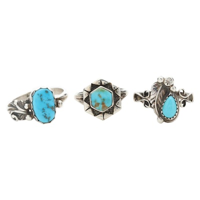Signed Southwestern Style Sterling Silver Turquoise Rings