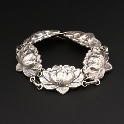 Danecraft Sterling Silver Lotus Flower Bracelet
