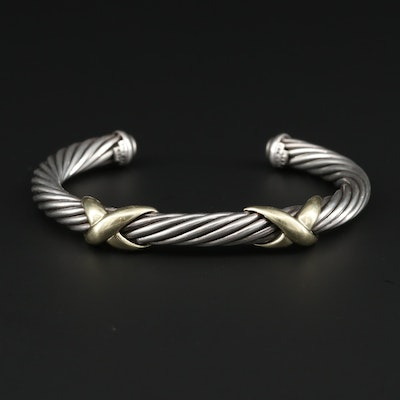 David Yurman Sterling Silver Cuff Bracelet With 14K Yellow Gold Accents
