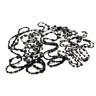 Generous Assortment of Imitation Onyx and Faceted Bead Necklaces