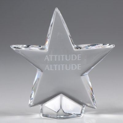 """Baccarat """"Star"""" Crystal Paperweight Engraved with """"Attitude Altitude"""""""