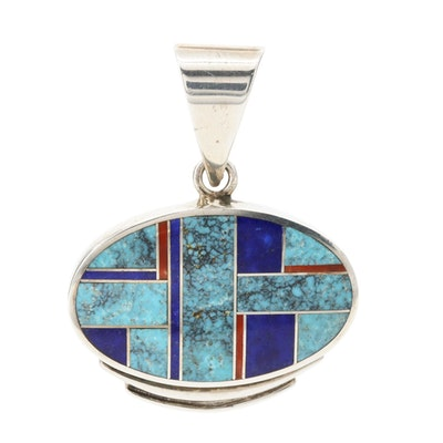 Ray Tracey Navajo Diné Sterling Silver Turquoise and Gemstone Inlay Pendant
