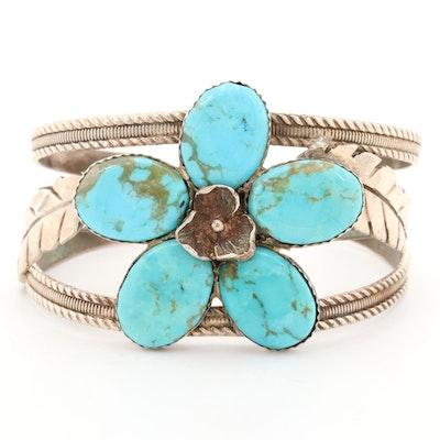 Southwestern Bill Kirkham Sterling Silver Turquoise Floral Cuff Bracelet