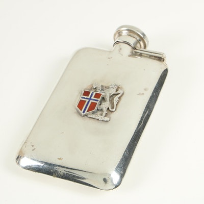 Spaulding-Gorham 2 Ounce Sterling Silver Flask with Armorial Crest, 1920–1943