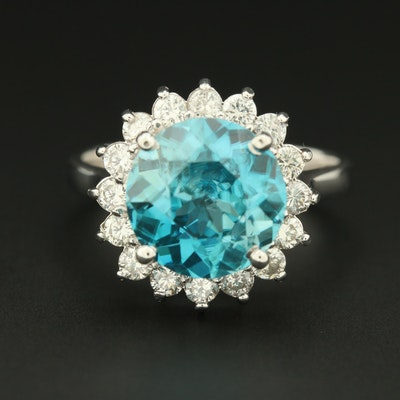 18K White Gold Blue Zircon and Diamond Ring