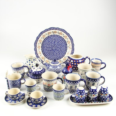"Boleslawiec Handmade Stoneware Tea Service Including ""Nature"", Contemporary"