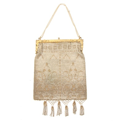 Framed Art Deco Microbead Handbag with Beaded Headpiece