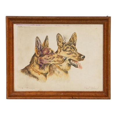 """Paul Wood Hand Colored Etching """"Burgers"""""""