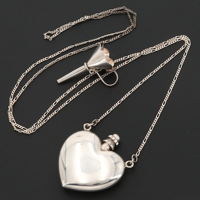 Sterling Silver Heart Perfume Bottle Figaro Chain Necklace with Funnel