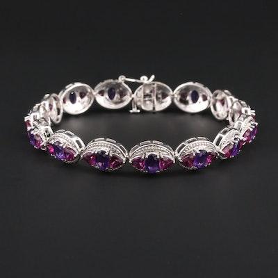Sterling Silver Garnet and Amethyst Bracelet