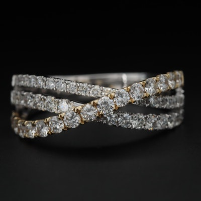 14K White Gold Diamond Crossover Ring with Yellow Gold Accent