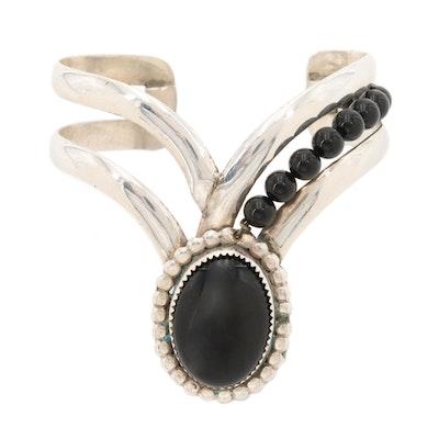 Southwestern Bill Kirkham Sterling Silver Black Onyx Chevron Cuff Bracelet