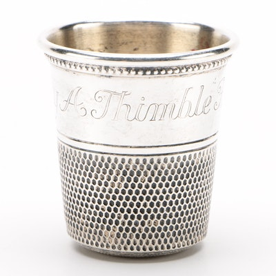 """American Sterling Silver """"Only A Thimble Full"""" Shot Glass"""