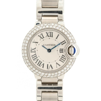 Cartier Ballon Bleu 1.12 CTW Diamond Bezel and Stainless Steel Quartz Wristwatch