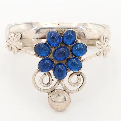 Southwestern Bill Kirkham Sterling Silver Spinel Cuff Bracelet