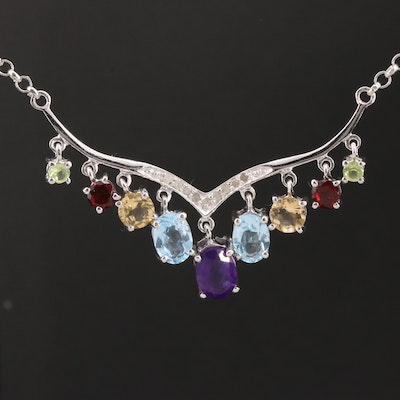 Sterling Silver Diamond and Gemstone Centerpiece Necklace