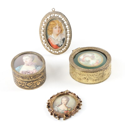 Miniature Oil Portraits and Trinket Boxes Featuring Notable French Figures