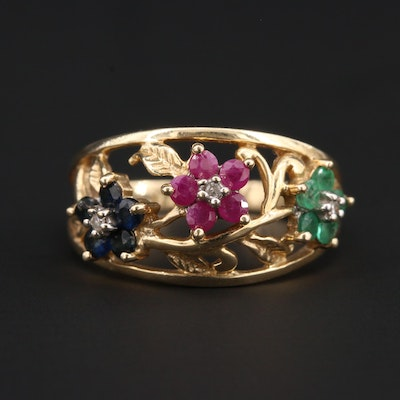 10K Yellow Gold Diamond and Gemstone Floral Openwork Ring