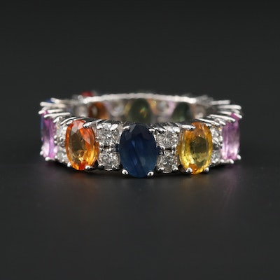 14K White Gold Multi-Colored Sapphire and Diamond Eternity Ring