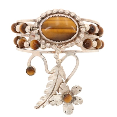 Southwestern Bill Kirkham Sterling Silver Tiger's Eye Floral and Feather Cuff