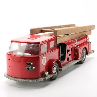 """Buddy L Texaco """"Fire Chief"""" Hook 'N Ladder Pressed Steel Semi Trunk, Circa 1960s"""