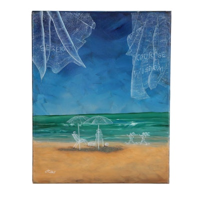 "J.C. Hall Acrylic Painting ""Beach Memories"""