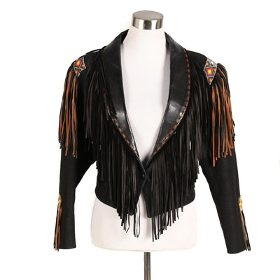 Diamond Denim & Leather Western Cropped Jacket with Fringe and Beaded Accents