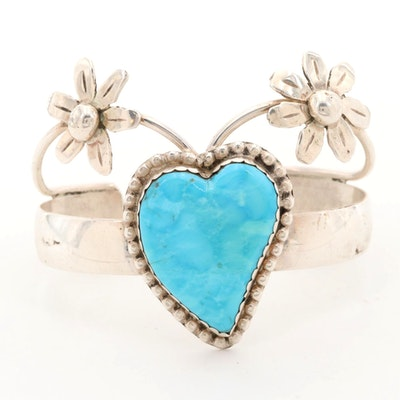 Southwestern Bill Kirkham Sterling Silver Turquoise Heart and Floral Cuff