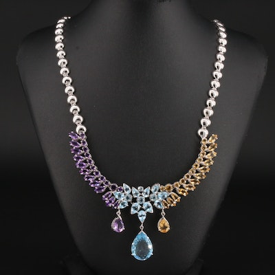 Sterling Silver Blue Topaz, Amethyst, and Citrine Necklace