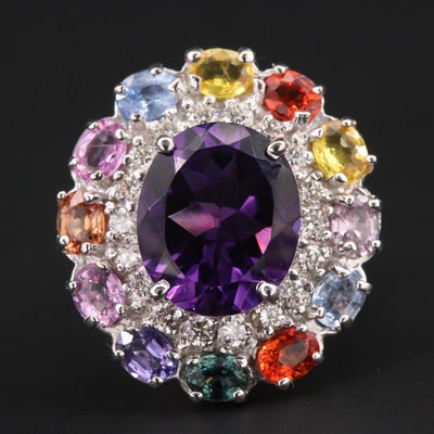 14K White Gold Amethyst, Multi-Colored Sapphire and Diamond Ring